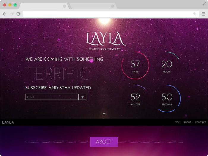 Layla Responsive Coming Soon Under Construction Template with Bootstrap