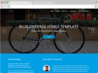 Blue Free One Page Corporate Agency Bootstrap Template