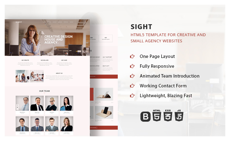 One page Multipurpose Creative Agency Bootstrap Template