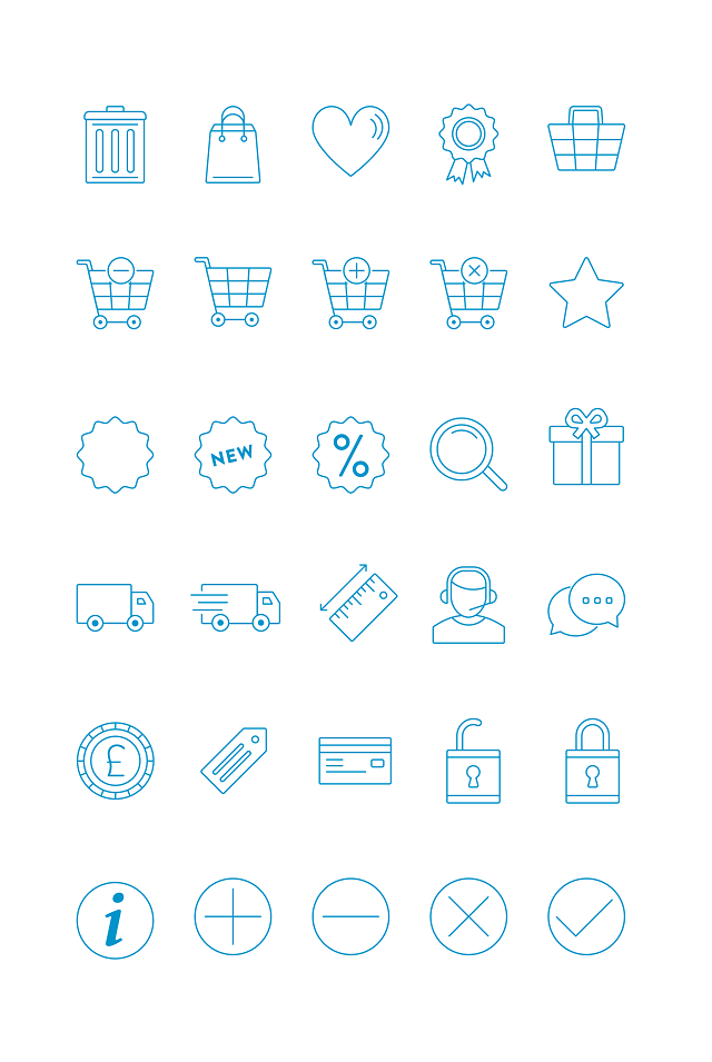 Free Responsive eCommerce icons set Download