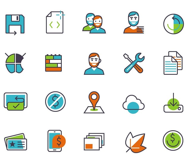 colorful ecommerce apps products icons