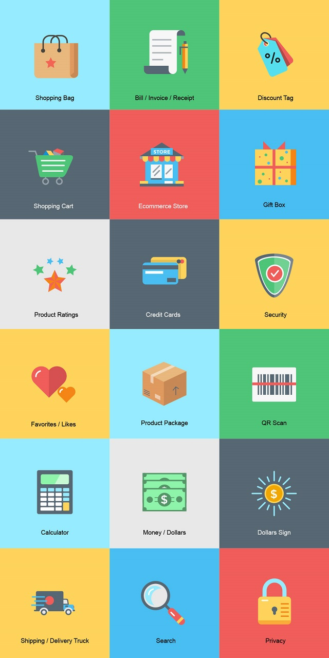 Colorful eCommerce icons