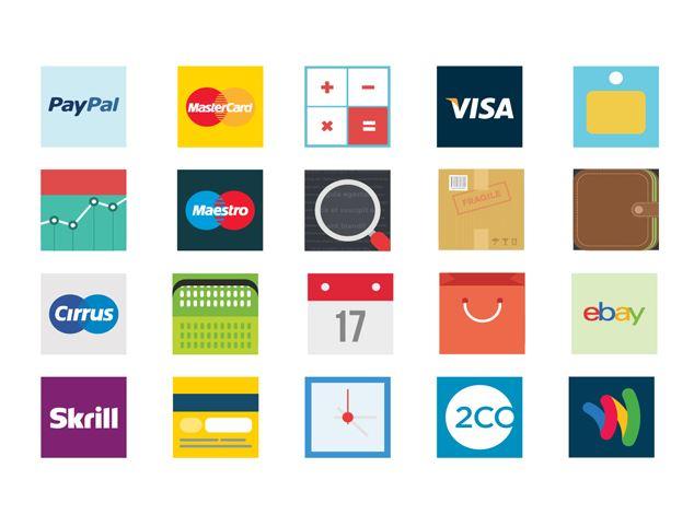 free flat box style eCommerce icons