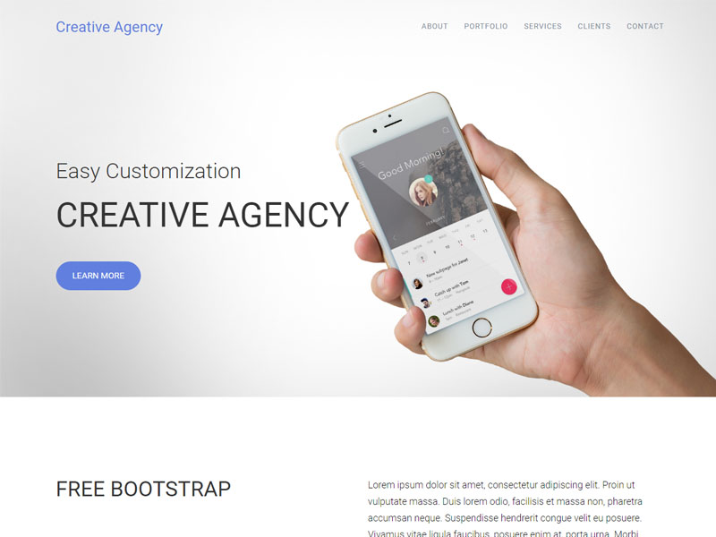 free responsive one page bootstrap agency template