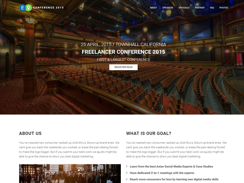 Free Responsive Event Website Bootstrap HTML5 Template in 2017