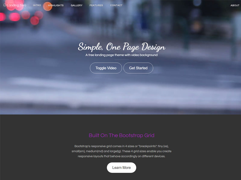 Free Landing Page Bootstrap HTML5 Template with Video Background