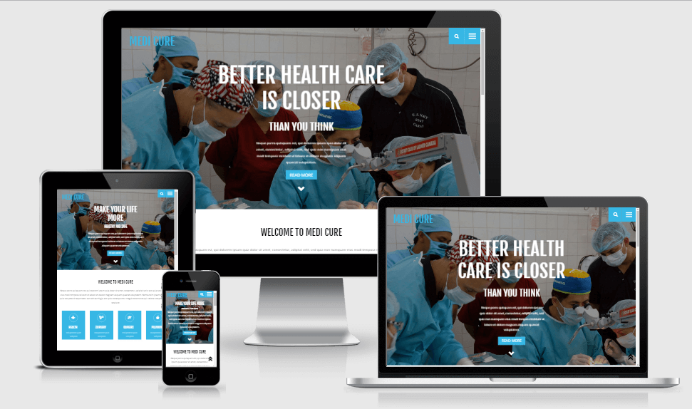 Medi Cure free gym fitness bootstrap website templates