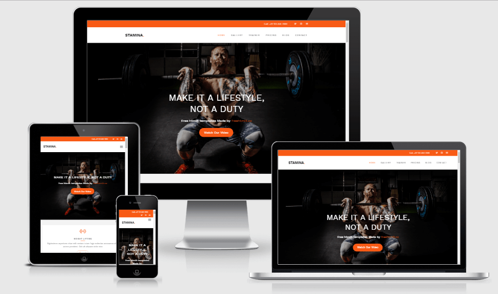 Stamina free gym fitness bootstrap website templates