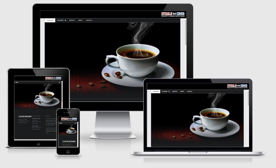 Cafe Home HTML5 Bootstrap based free restaurant template download