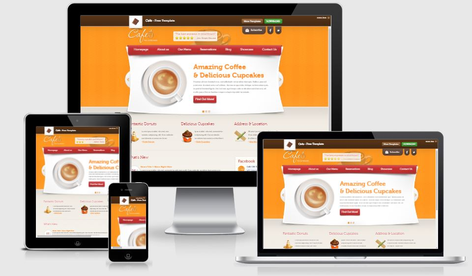 Cafe HTML5 Bootstrap based free restaurant template download