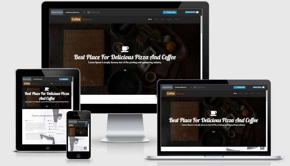Coffee Pizza HTML5 Bootstrap based free restaurant template download