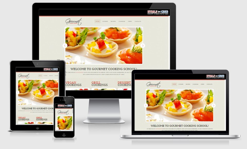 Gourmet HTML5 Bootstrap based free restaurant template download