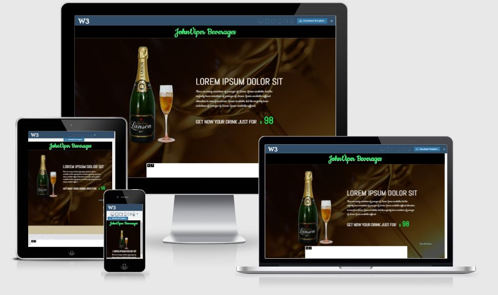 John Viper Beverage HTML5 Bootstrap based free restaurant template download