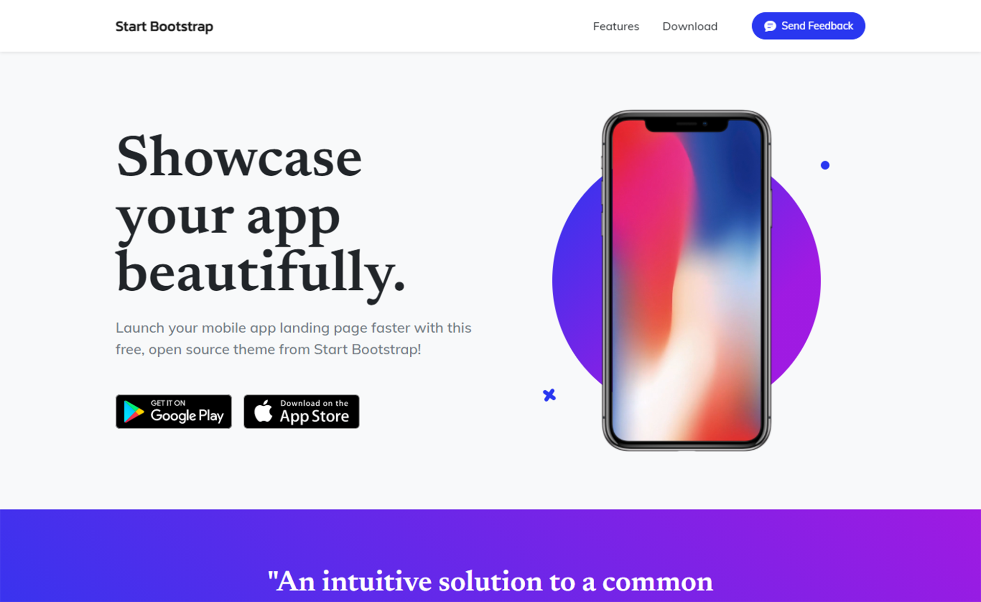 Free Responsive One Page App Landing Bootstrap Template