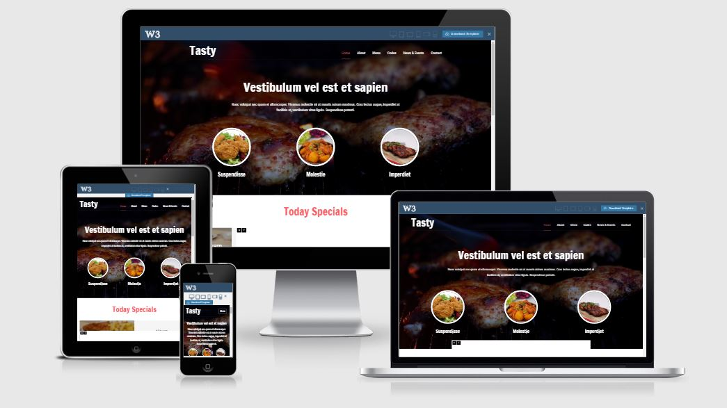 Tasty HTML5 Bootstrap based free restaurant template download