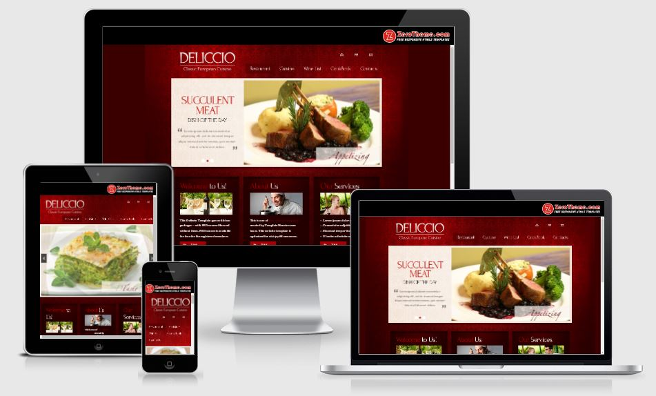 zDeliccio HTML5 Bootstrap based free restaurant template download