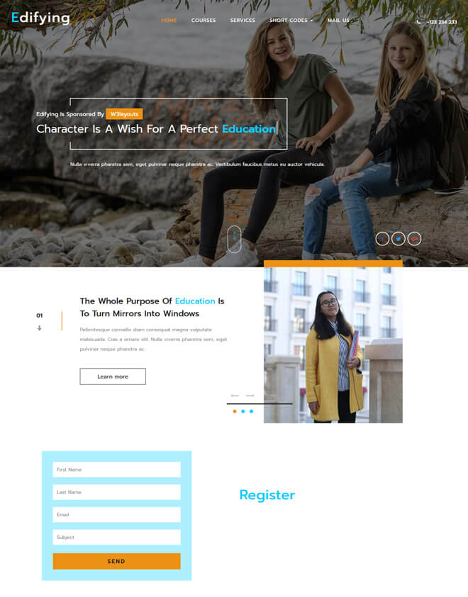 Edifying - free online education website template