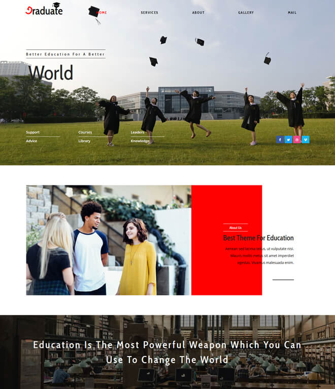 Graduate - free online education website template