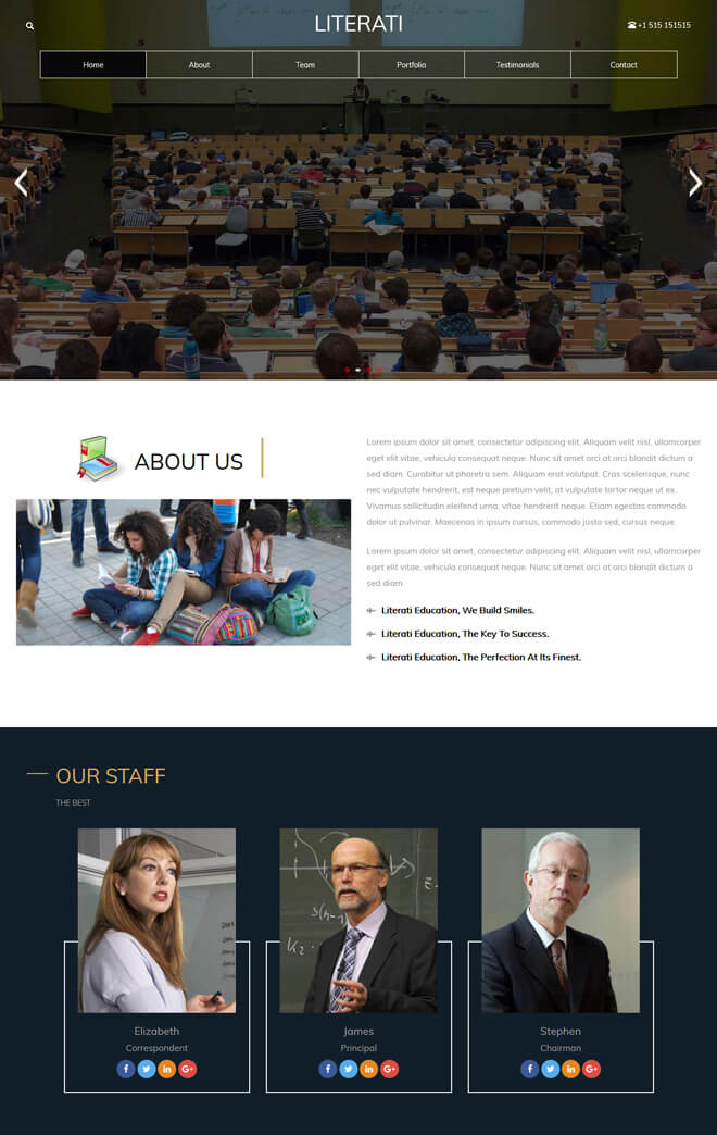 Literati - free online education website template