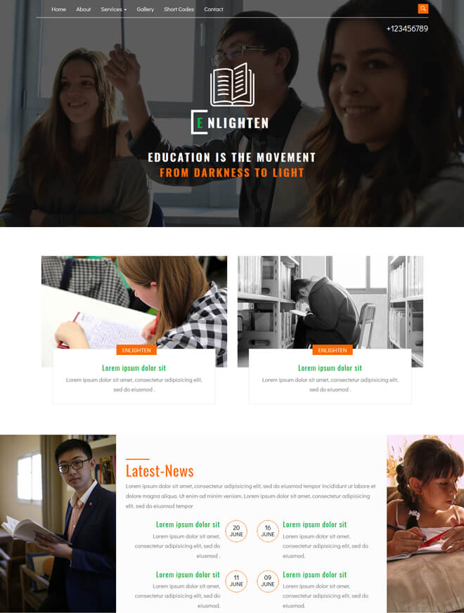Enlighten - free online education website template