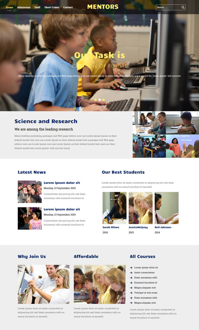 Mentors - free online education website template