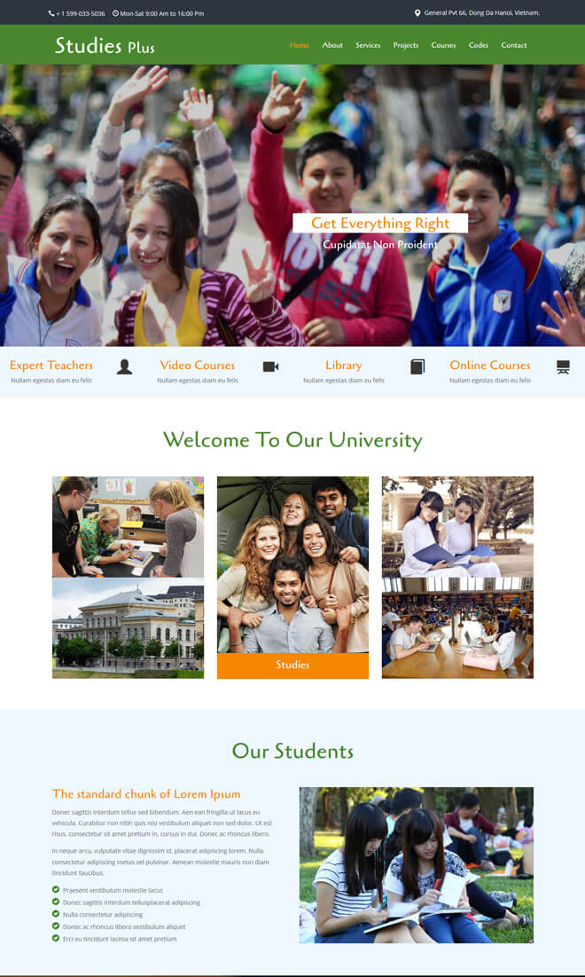 Studies Plus - free online education website template