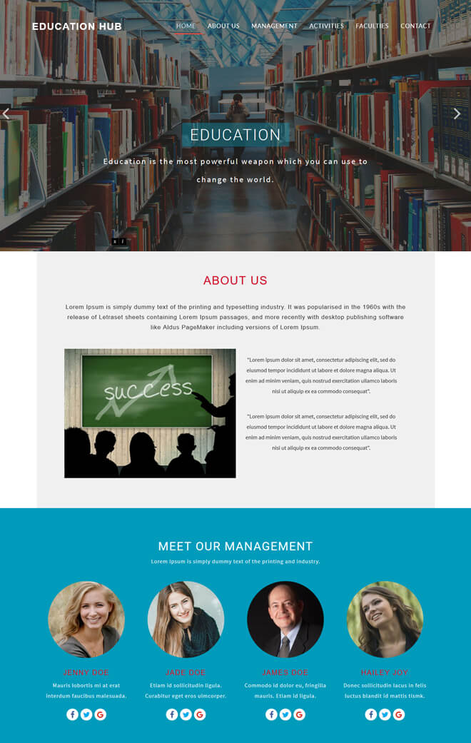 Education Hub - free online education website template