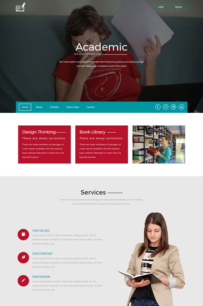 Academic - free online education website template