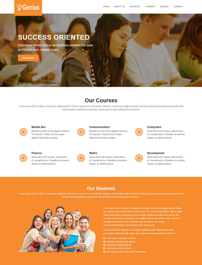 Genius - free online education website template