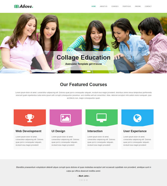 Above - free online education website template