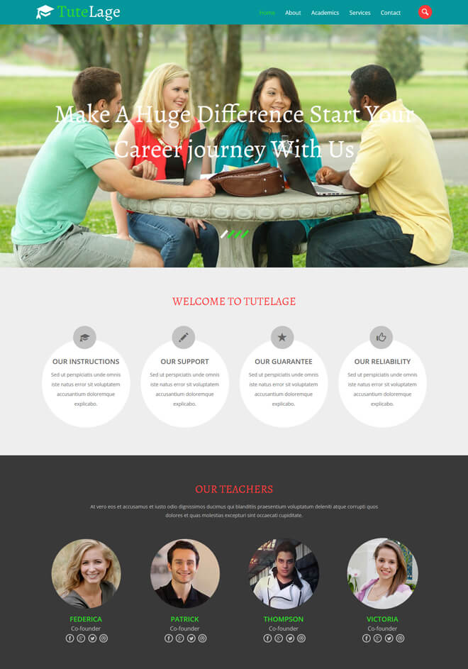 Tutelage - free online education website template