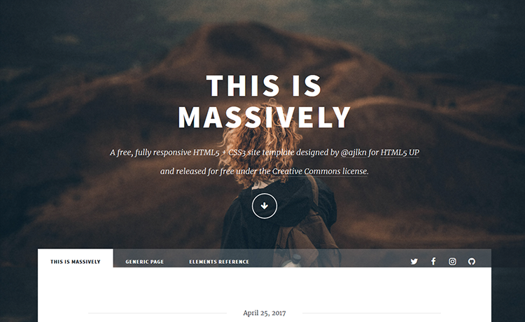 Massively-a Free Responsive HTML5 Blogging Website Template