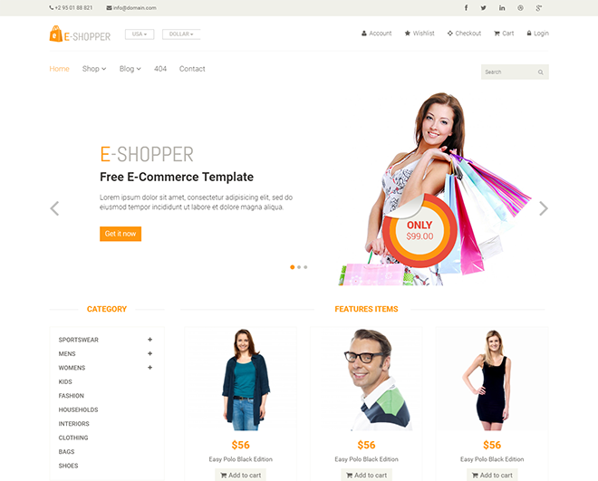 free html eCommerce templates