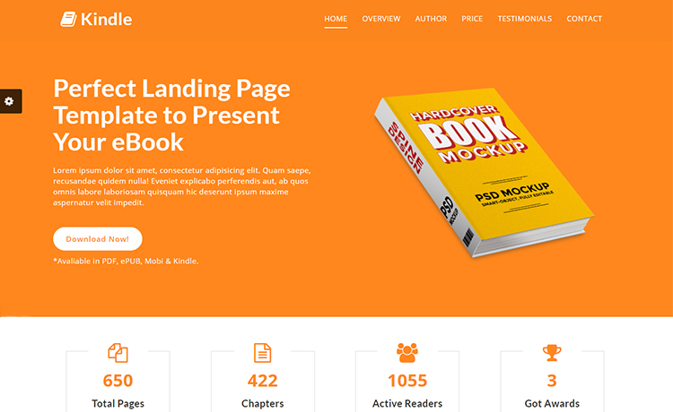 Kindle - Free Bootstrap eBook Landing Page