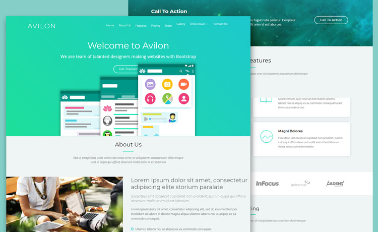 Free Bootstrap HTML Responsive Landing Page Template
