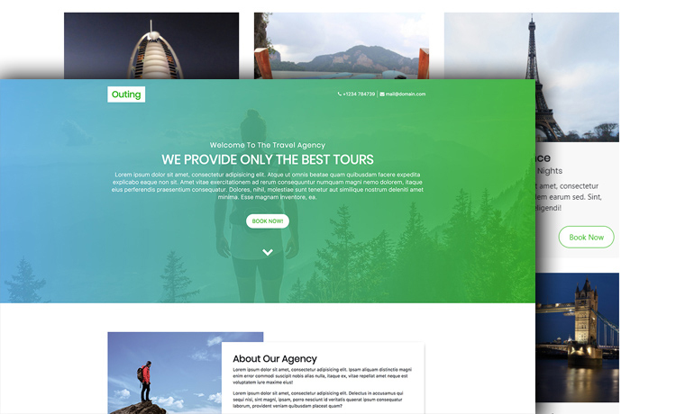 Bootstrap 4 travel agency website template