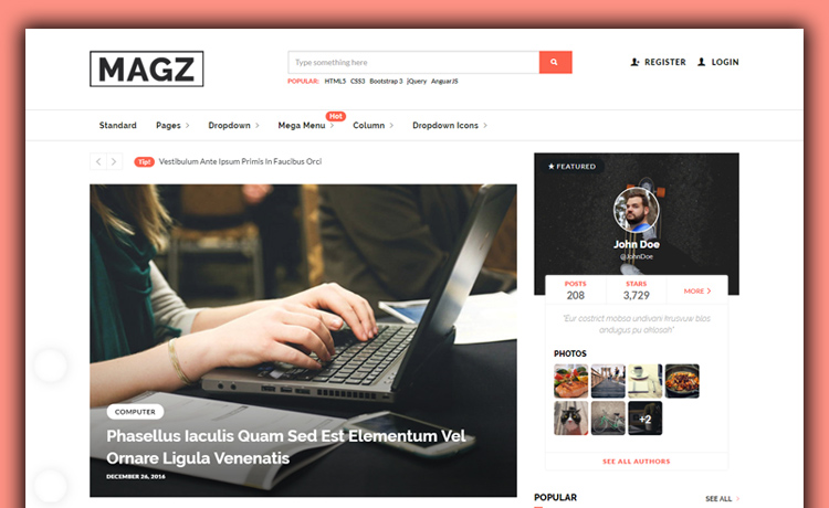 Bootstrap-powered HTML5 Free Responsive Magazine Template