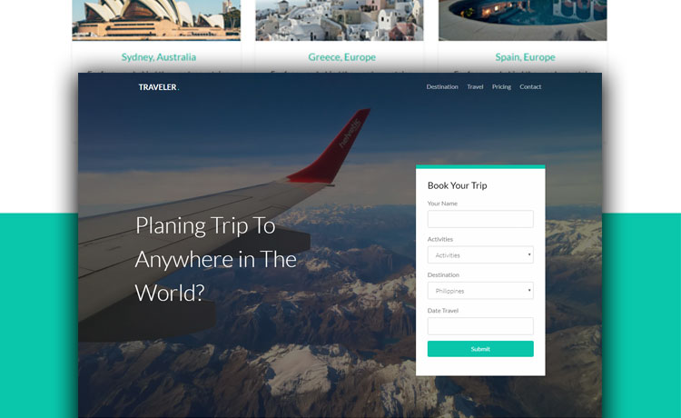 Free HTML5 Bootstrap Travel Agency Website Template