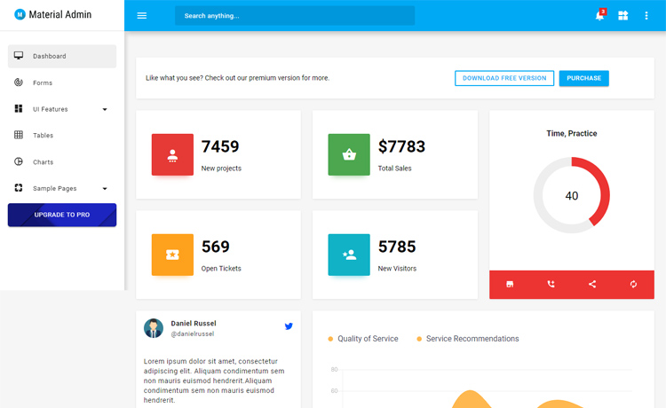 Simple and Free HTML5 Material Admin Template