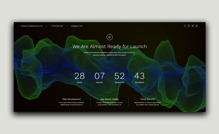 Free Coming Soon HTML5 Template for Under Construction Web Pages
