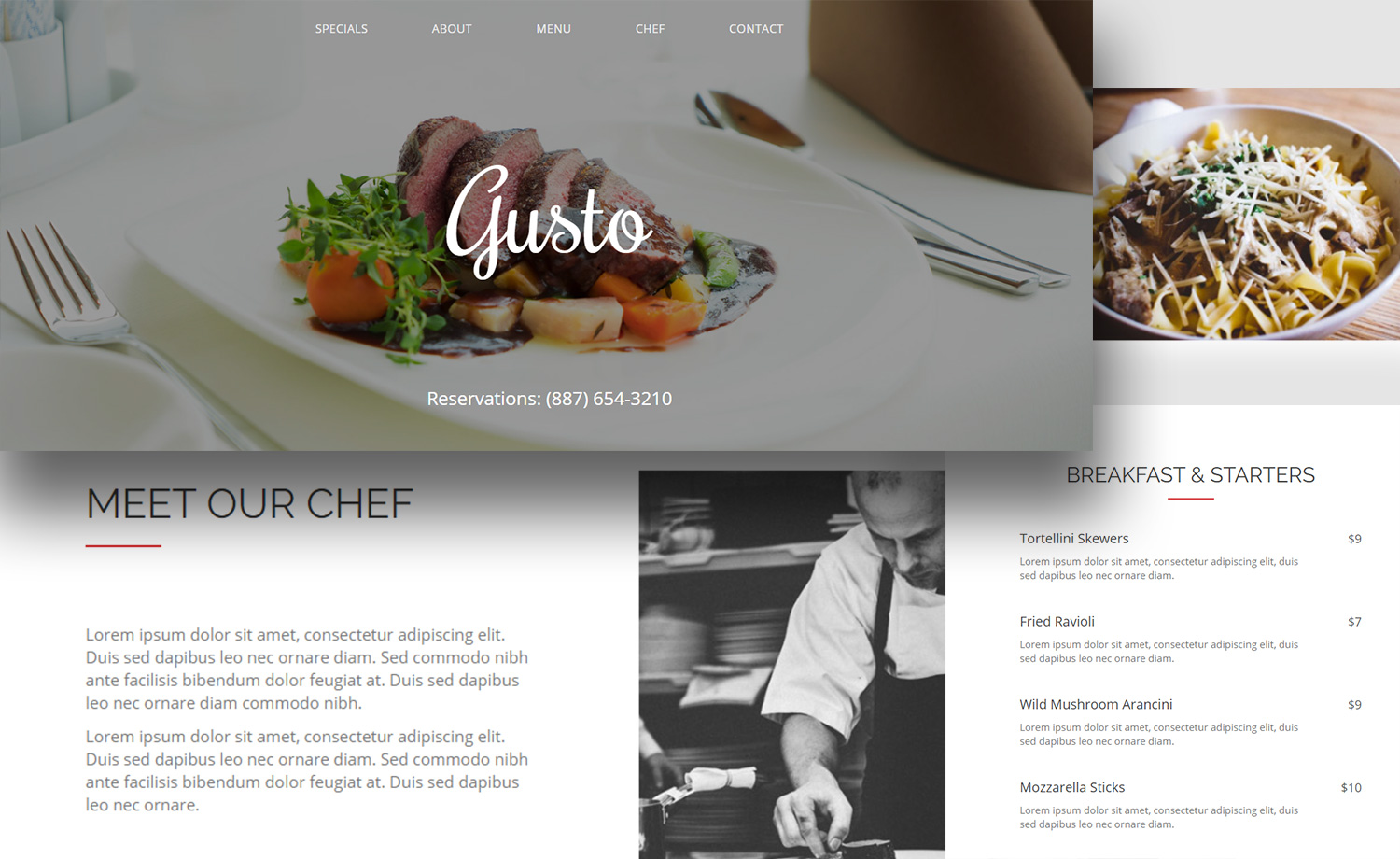 Free HTML5 Food Restaurant One Page Website Template