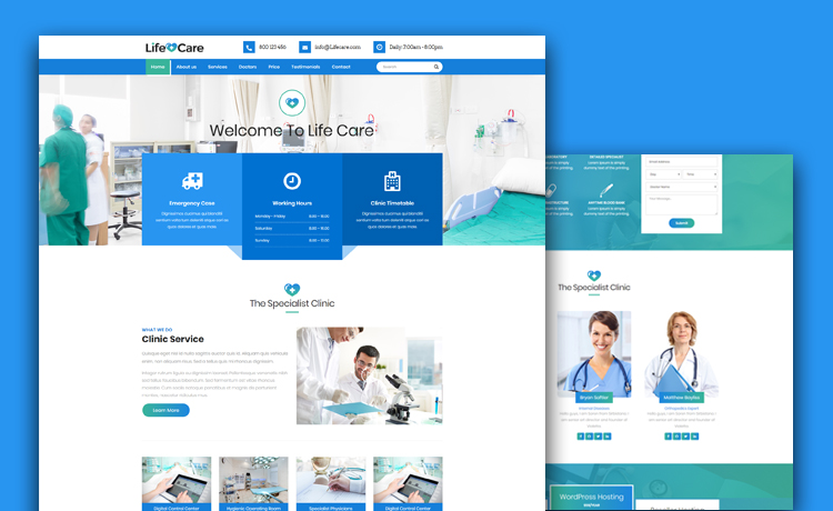 Free Medical Website Template With Gradients and Parallax Background