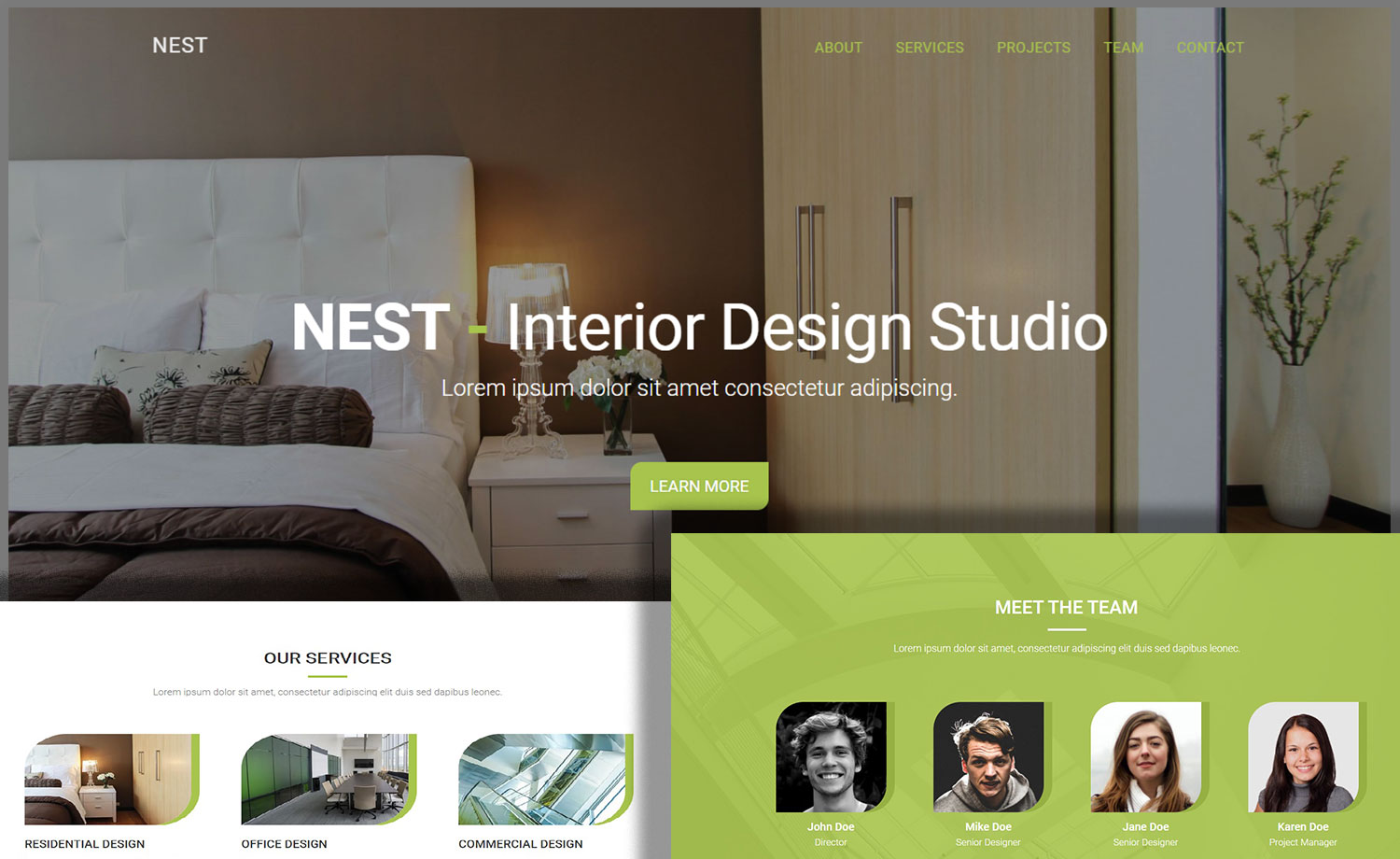 Free Interior Design Website Template with Working Contact Form