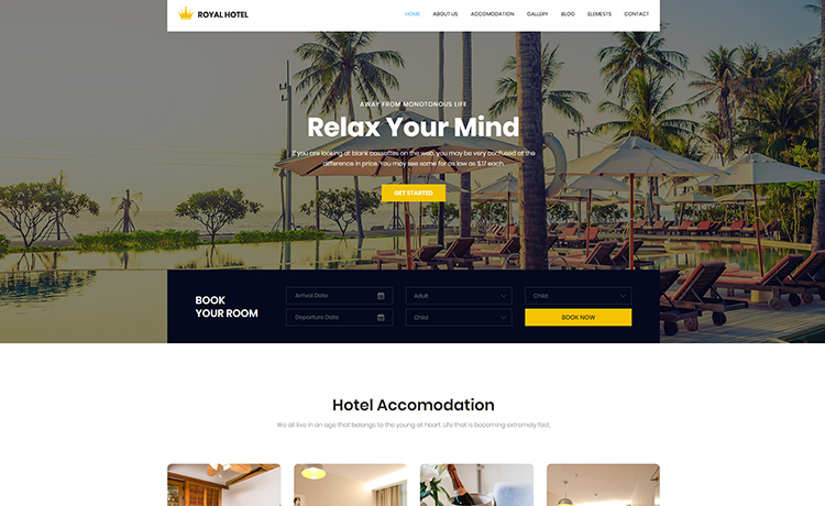 Free Bootstrap Hotel Template