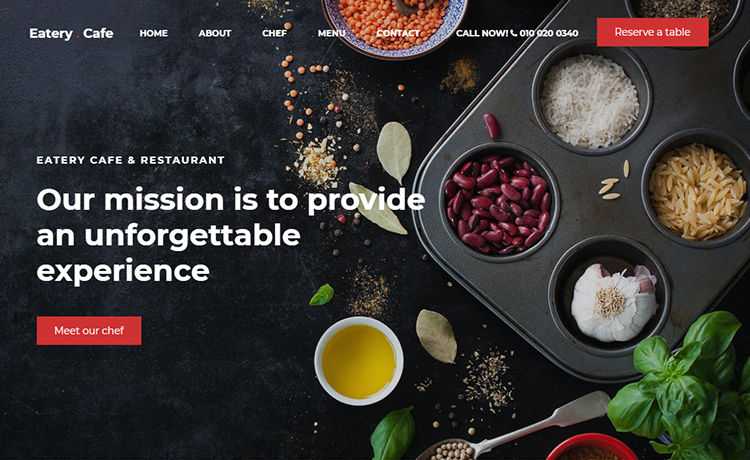 Free Bootstrap Restaurant Website Template