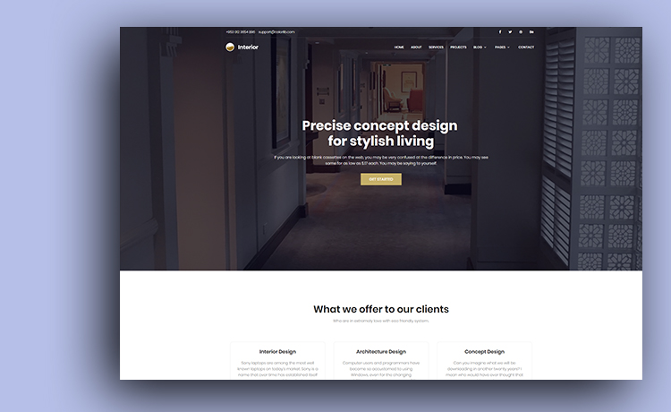 Free HTML5 Interior Design Website Template