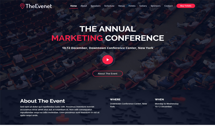Free Bootstrap 4 HTML5 event website template
