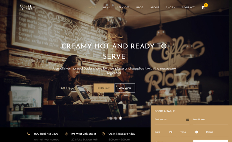 Free Bootstrap 4 HTML5 coffee website template