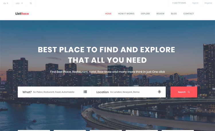 Free Bootstrap HTML5 directory listing website template