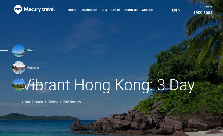 Free responsive HTML5 travel agency website template